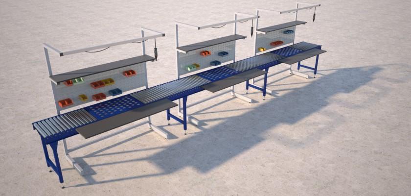 over conveyor workstation render