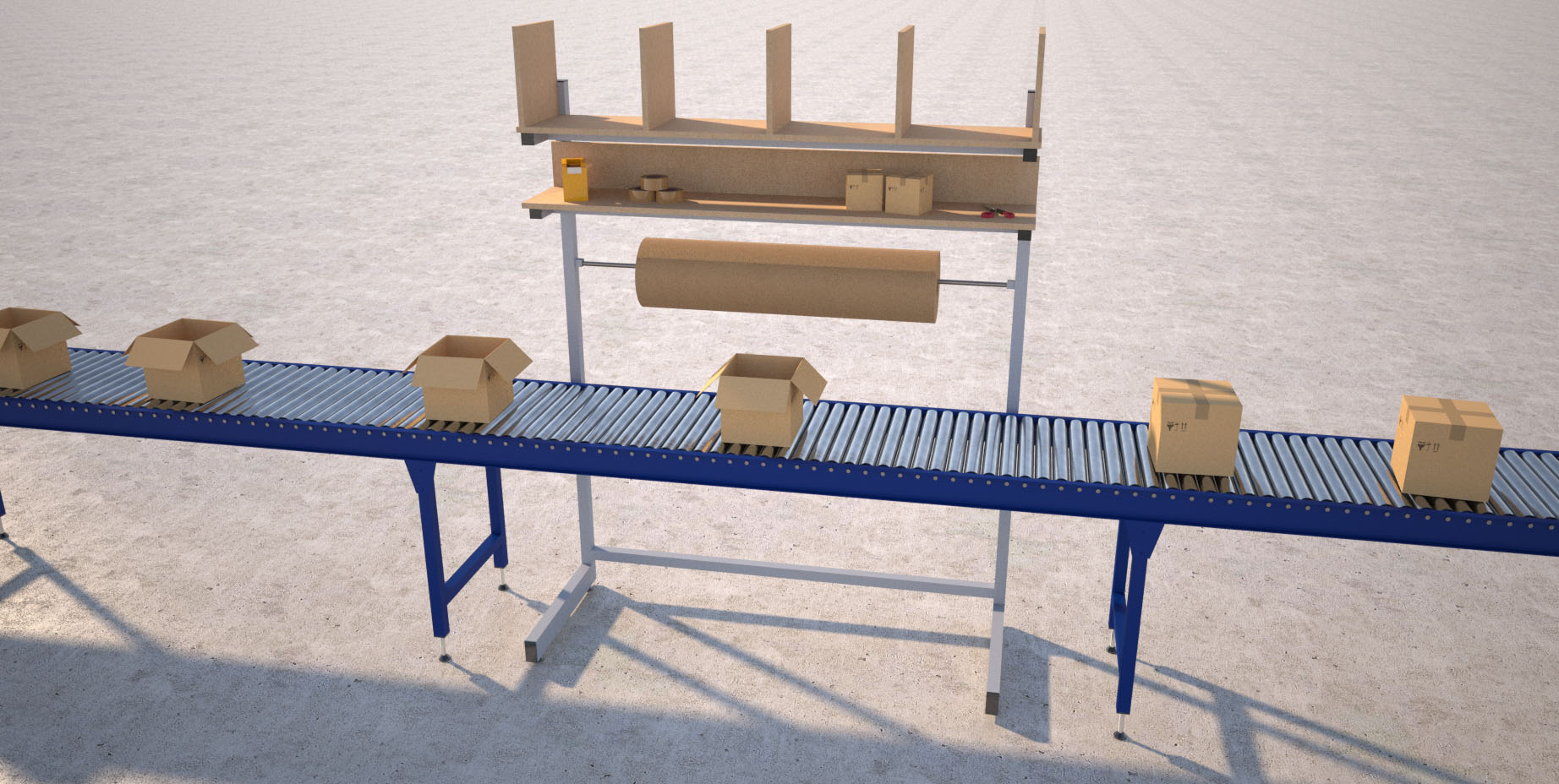 over conveyor packing line render
