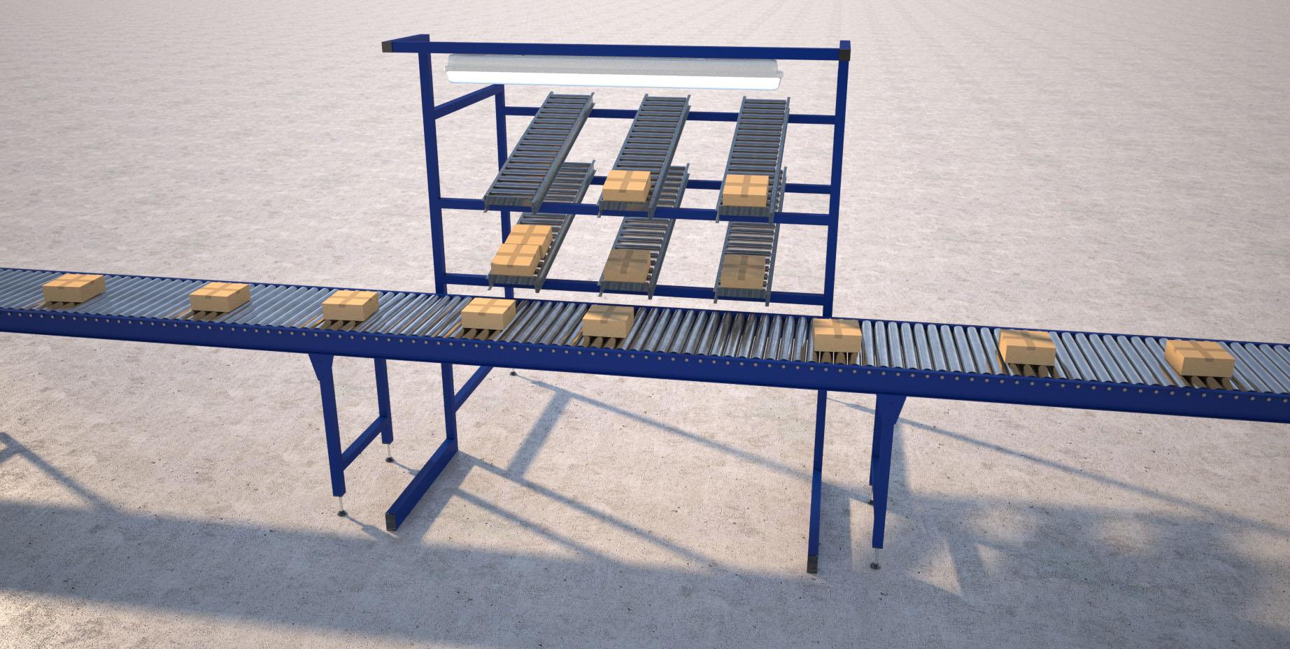 over conveyor roller storage render