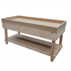 wooden workbench with sides