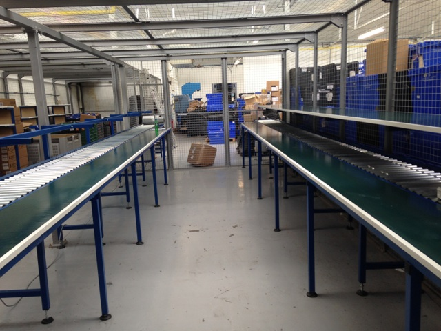 benches and roller conveyor