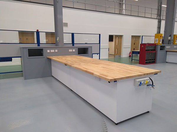 Custom fitted heavy duty workbench for workshop