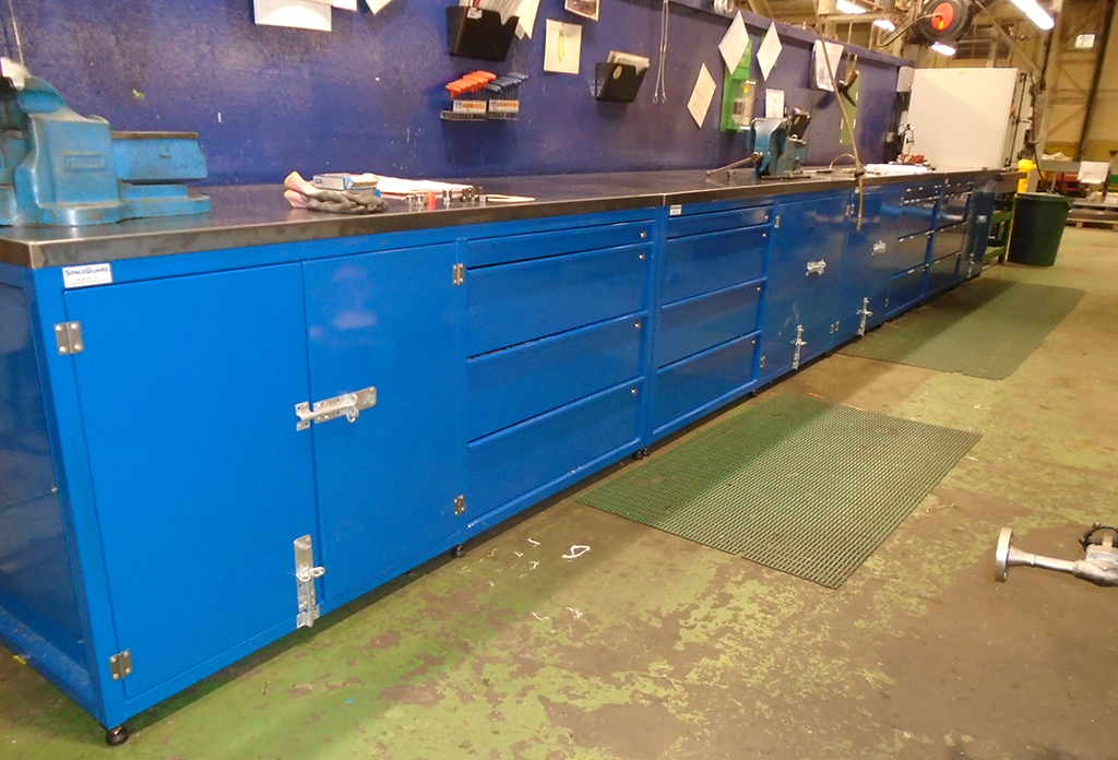 Heavy duty workbenches in customer workshop
