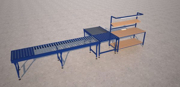 packing bench and ball transfer table render