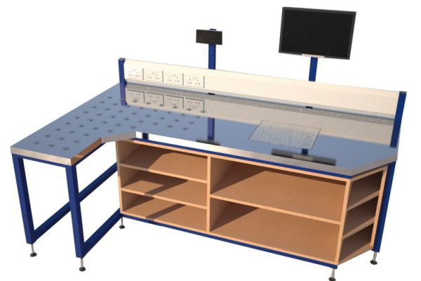 bespoke workbench with scales and ball table