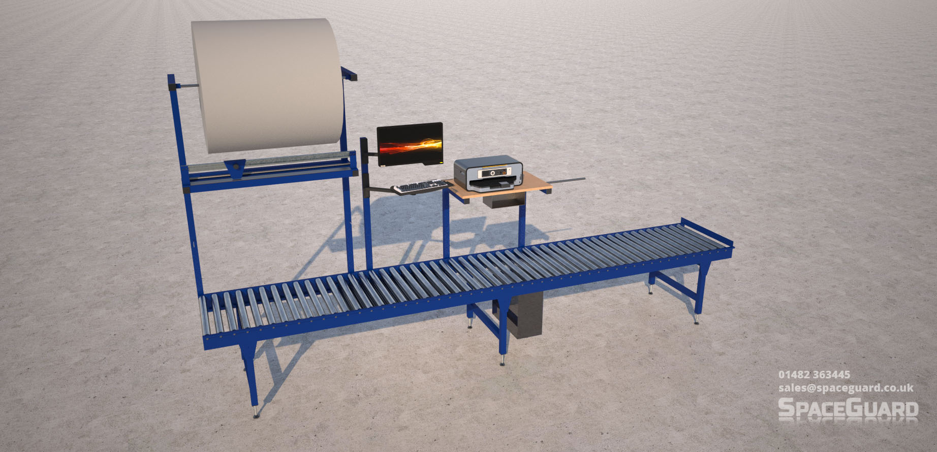 gravity conveyor workstation render