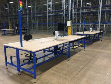 industrial workbench packing work cell
