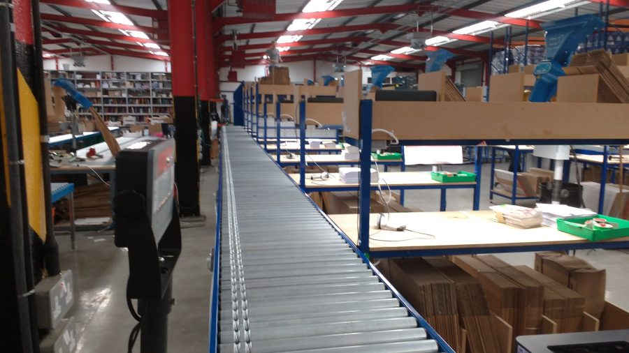 powered roller conveyor and benches
