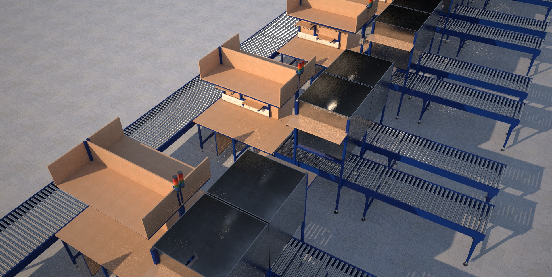 Processing cell complete with infeed and take away conveyor tracking