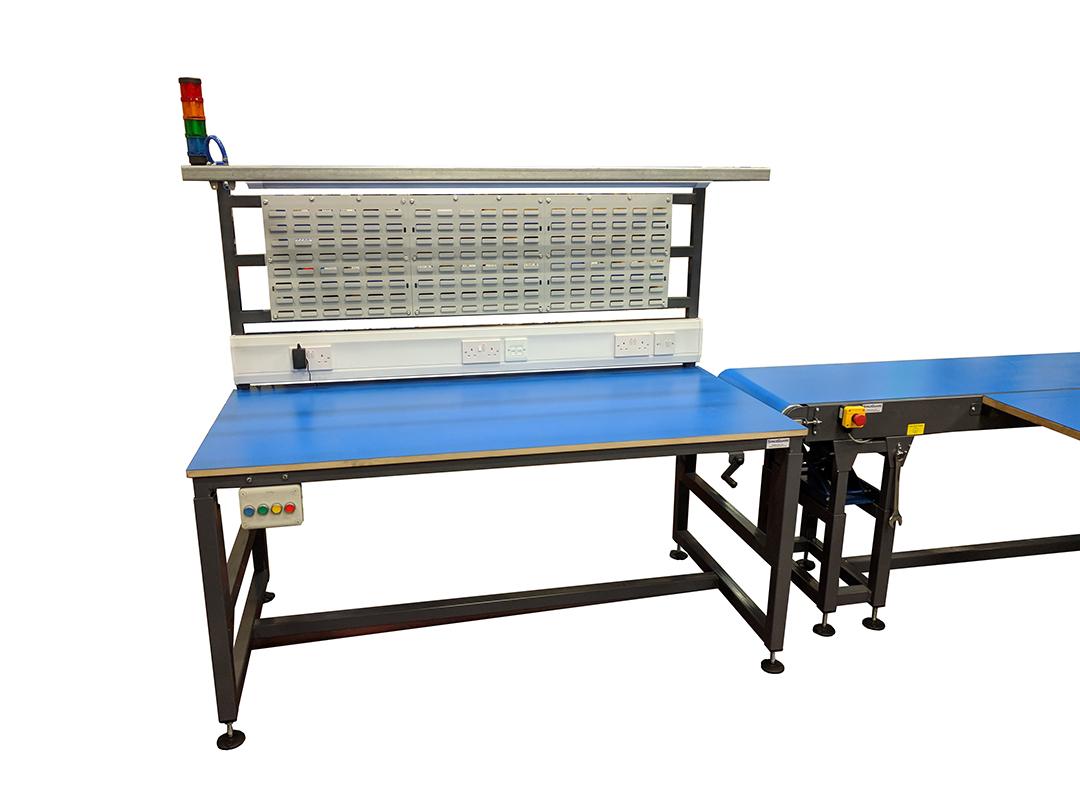 Workstation Andon lights, adjustable height belt conveyor, Height adjustable workbench