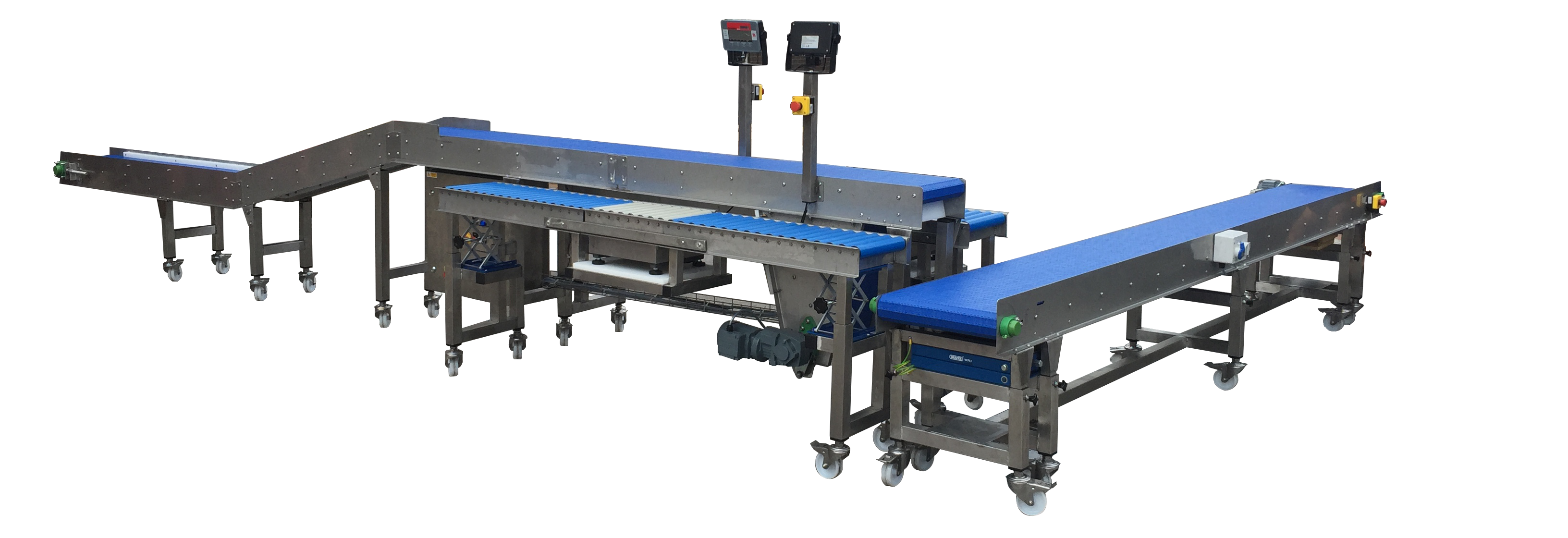 height adjustable workbenches integrated with adjustable height conveyors and weighing systems