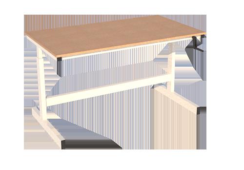 Manual height adjustable workbench adjustment