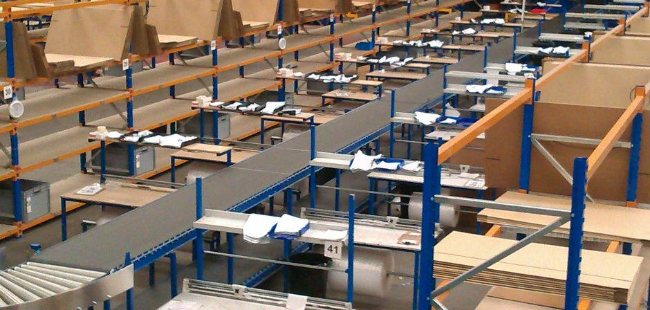 packing benches in warehouse