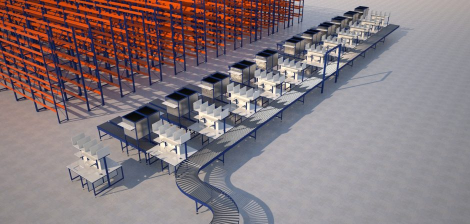 Bespoke packing cell with conveyors