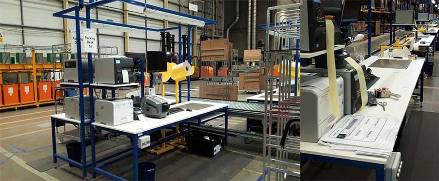 workbench with scales, IT, packing aids and andon call system