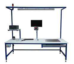 Industrial workbench with weighing and IT equipment