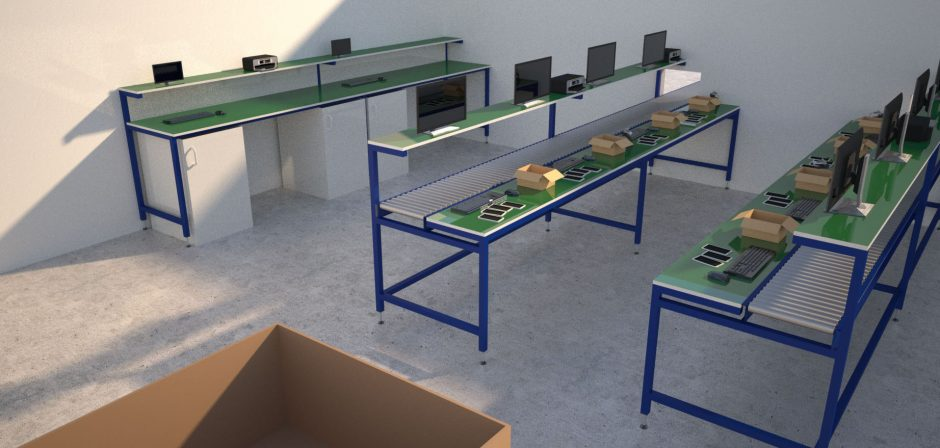 Product processing industrial workbenches