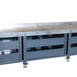 heavy duty workshop workbench with gas storage