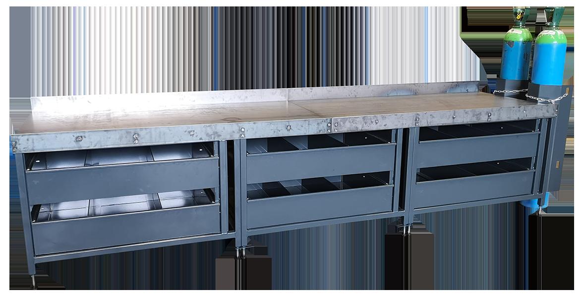 bespoke heavy duty workshop workbench with gas bottle storage