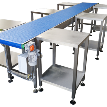 Stainless steel conveyors and workstations