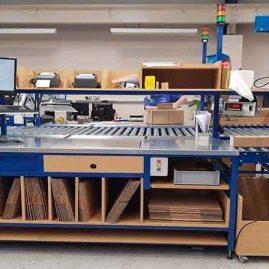 Bespoke lean packing bench & roller conveyor