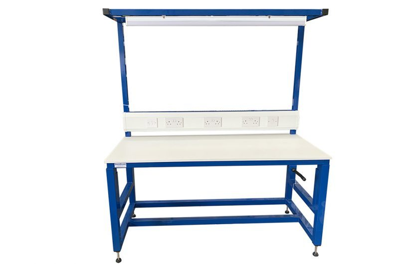 Height adjustable workbench with sockets and lights