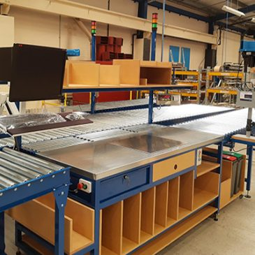 bespoke industrial workbench benefits shown in packing station