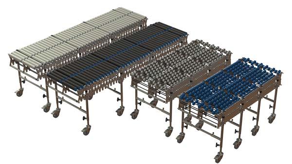 Flexible expanding conveyor range
