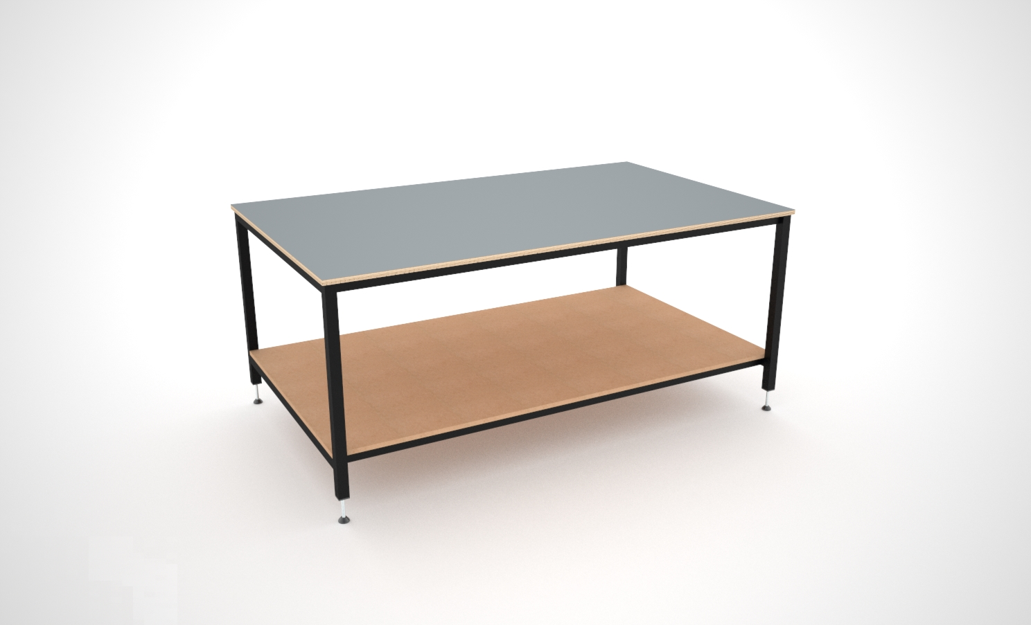 Basic layout table with lower shelf