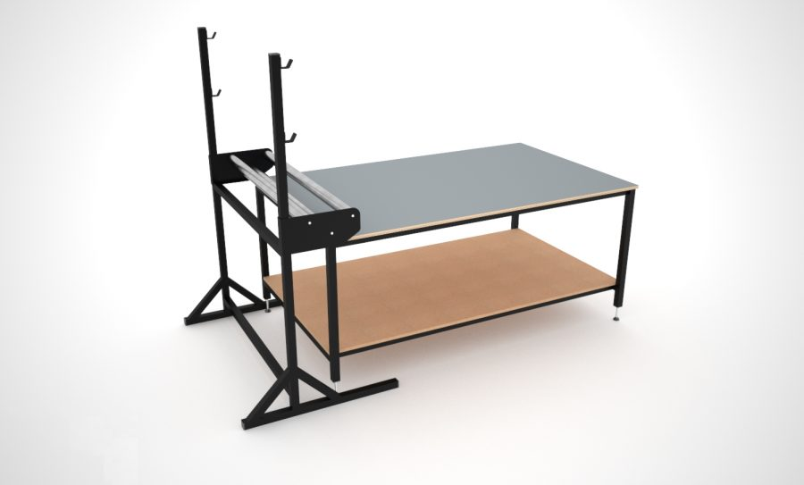 Basic layout table with roll holder