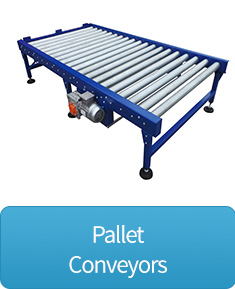 Pallet handling chain driven roller conveyor