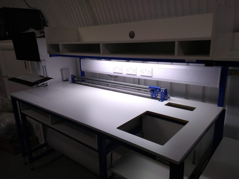 Bespoke packing bench with lighting