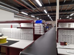 assembly line workbenches and belt conveyor