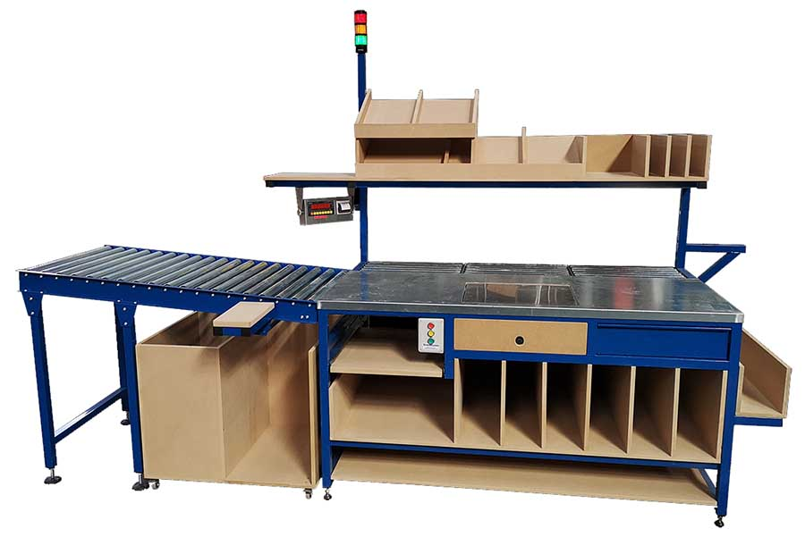 bespoke packing workbench complete with scales, andon call lights and roller conveyors