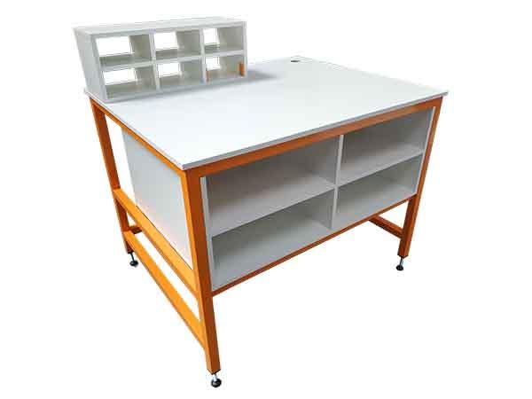orange packing bench