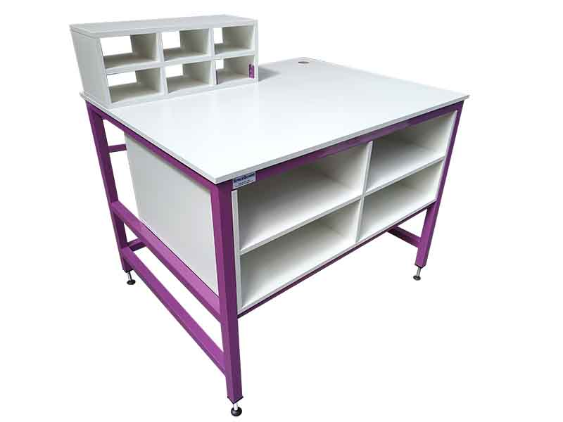 purple packing bench