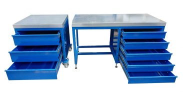 stainless steel top workbench and drawers