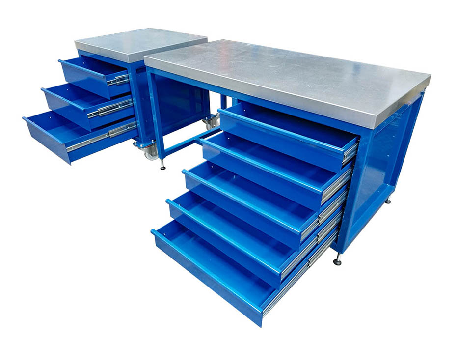 steel top workbench with drawers