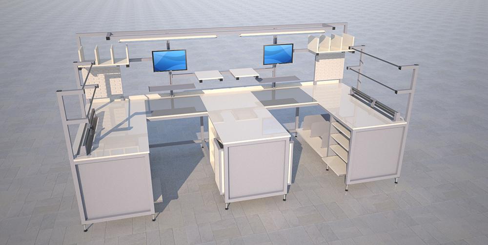 M shaped workstation render