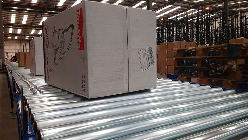 box on a roller conveyor