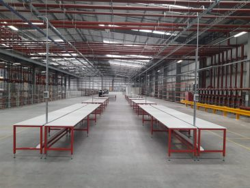 Warehouse packing tables