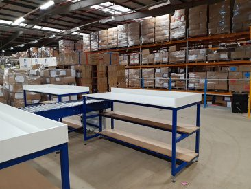 packing bench in warehouse