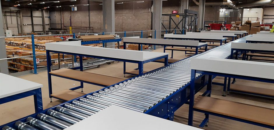 onsite conveyor installation lineshaft and benches