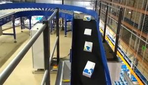 boxes on incline conveyor