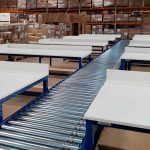 lineshaft driven roller conveyor with benches