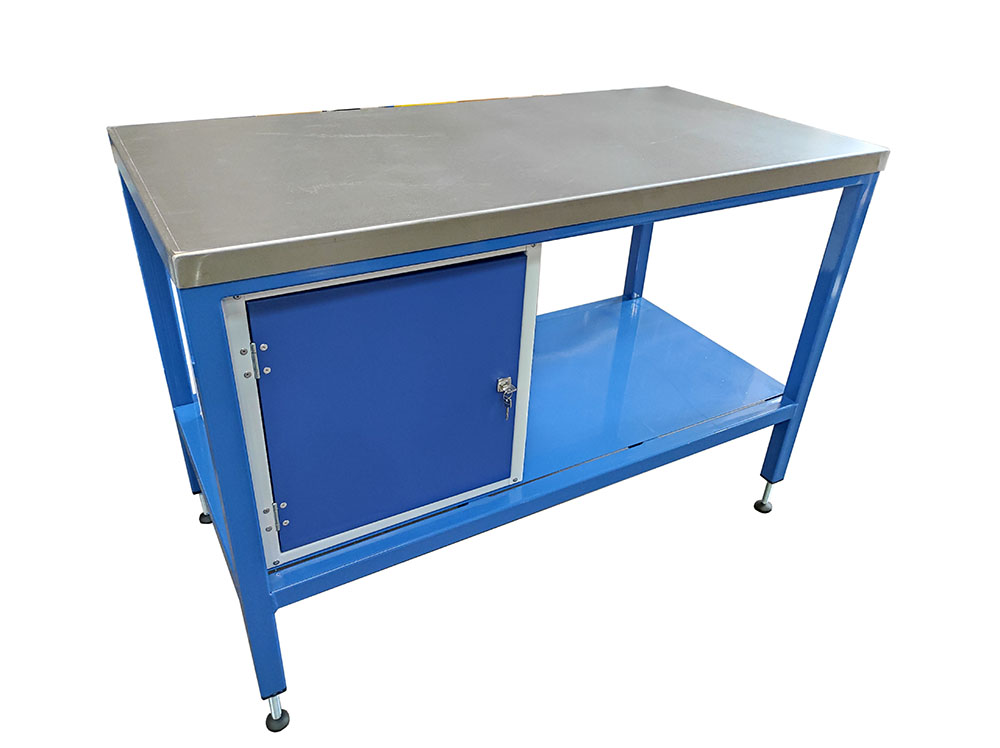 Steel top workbench with cupboard