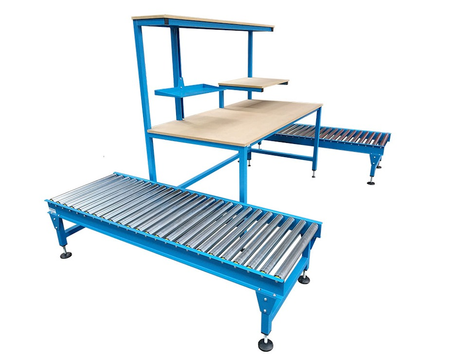 workbench with roller conveyors