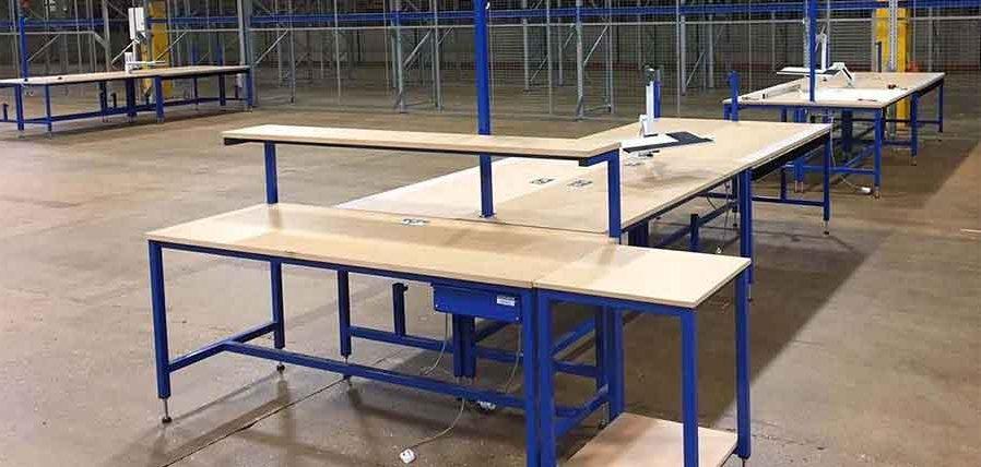 industrial workbench in warehouse