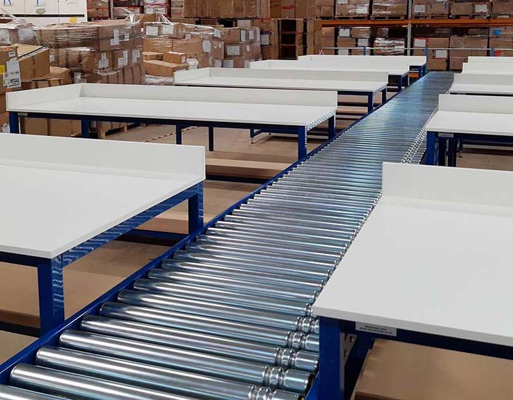 lineshaft driven roller conveyor and packing benches