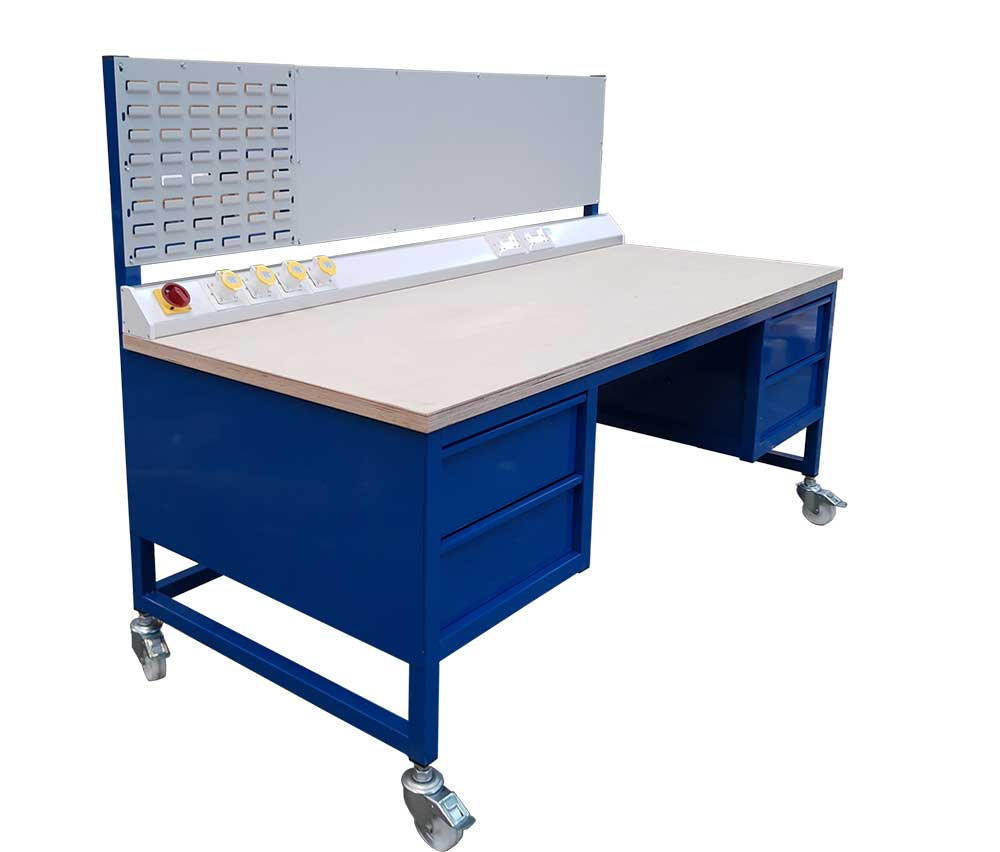 Workbench on castors with magnetic panel